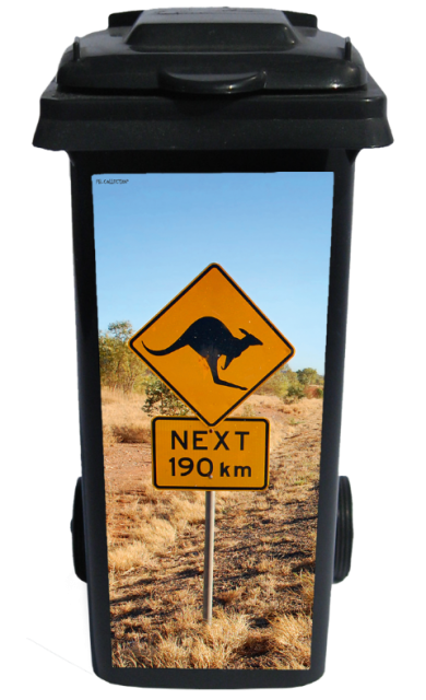Containersticker Down Under Road Sign 38x84cm